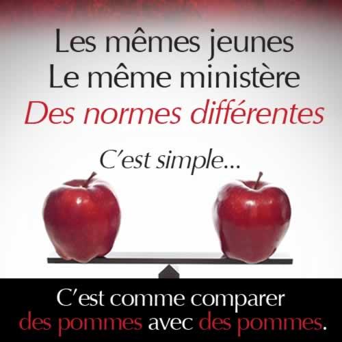 Les memes jeunes, le meme ministere, des normes differentes. C'est simple... c'est comme comparer des pommes avec des pommes