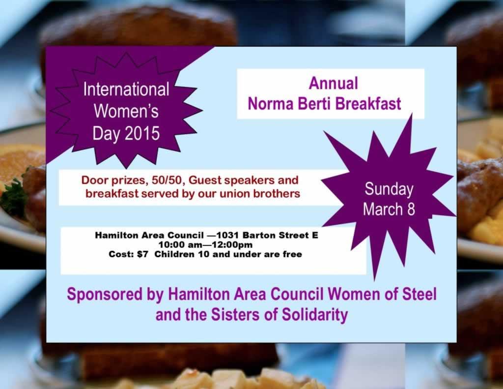 International Women's Day 2015. Annual Norma Berti Breakfast on March 8th.