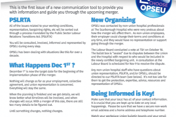 Newsletter cover, issue 1, fall 2016. PSLRTA staff organizing