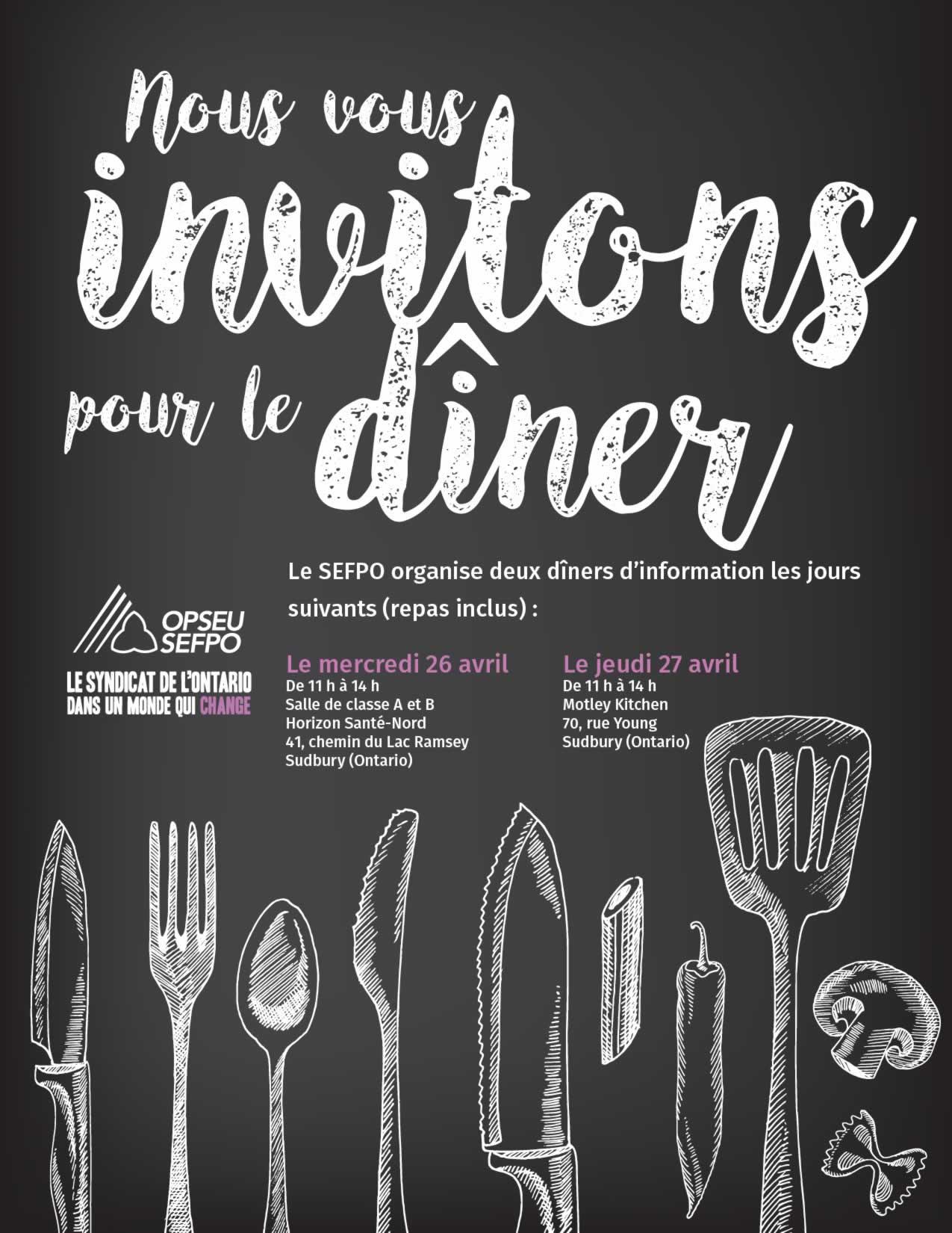 Nous vous invitons pour le diner