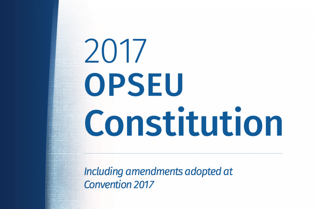 """Blue-and-white cover that says: """"2017 OPSEU Constitution including amendments adopted at Convention 2017"""""""