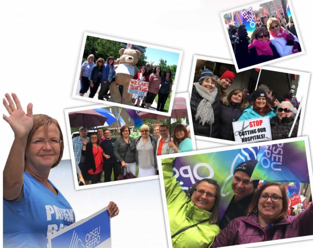 A woman holding an OPSEU sign smiling and waving, with 5 photos next to her of men and women at rallies and gatherings holding up signs and OPSEU flags