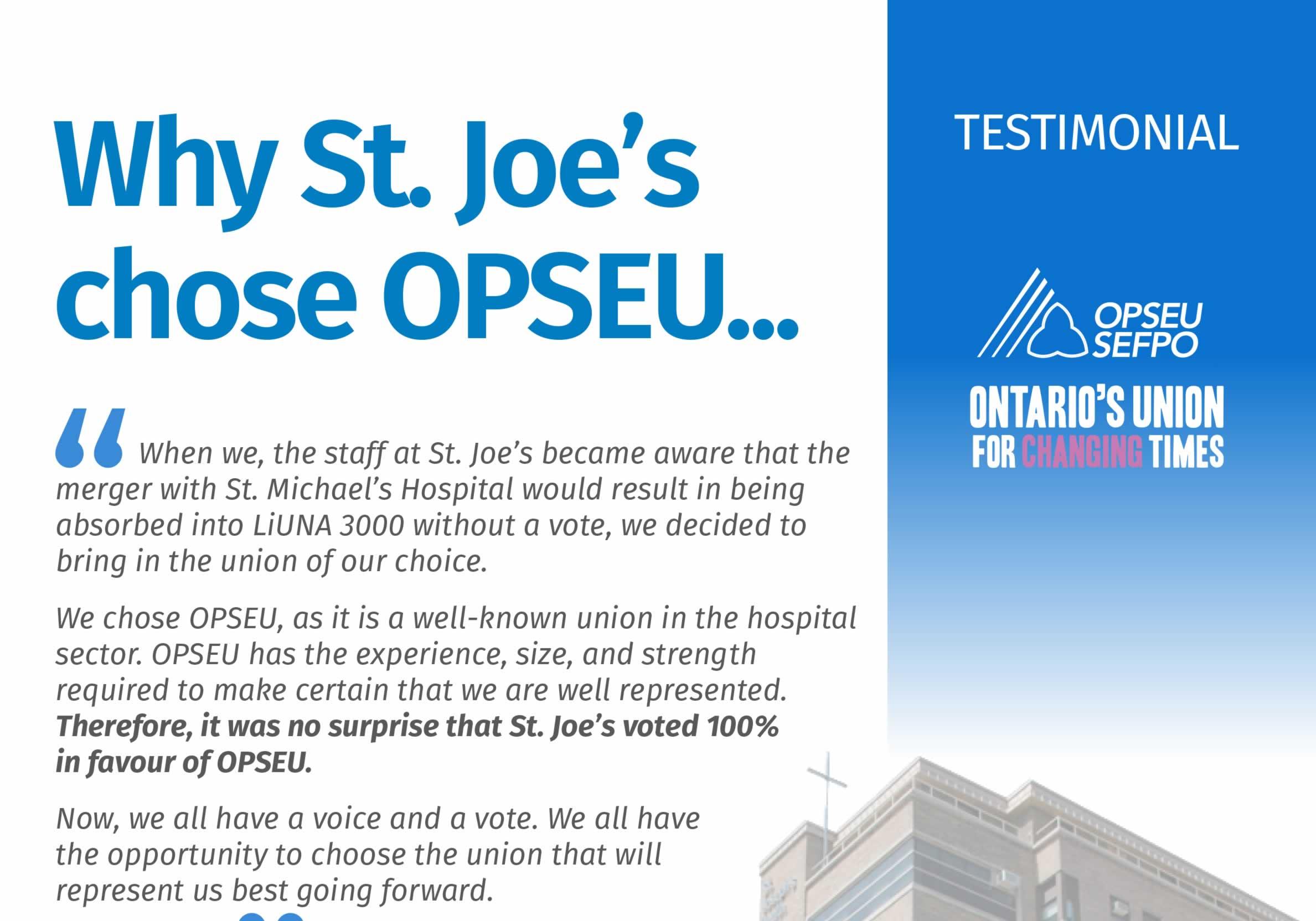 Why St. Joe's chose OPSEU testimonial