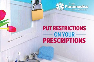 """Bathroom medicine cabinet locked with a padlock with the caption: """"Put restrictions on your prescriptions - OPSEU Paramedics make the difference."""""""