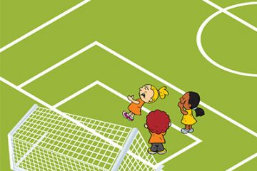 Illustration of children playing soccer, with one child lying on the ground hurt.