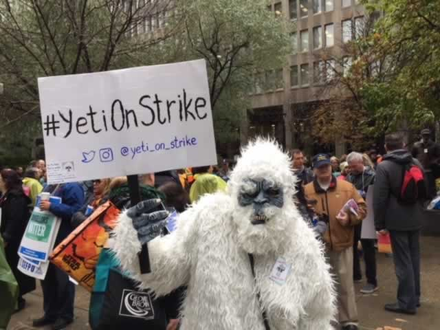 Person wearing yeti suit during OPSEU college strike at Queen's Park, November 2