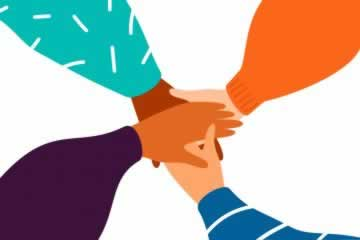 Equality Day: four hands holding in center