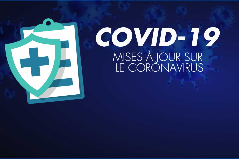 Mises à jour sur Coronavirus et la COVID-19. Une croix verte sur fond bleu.